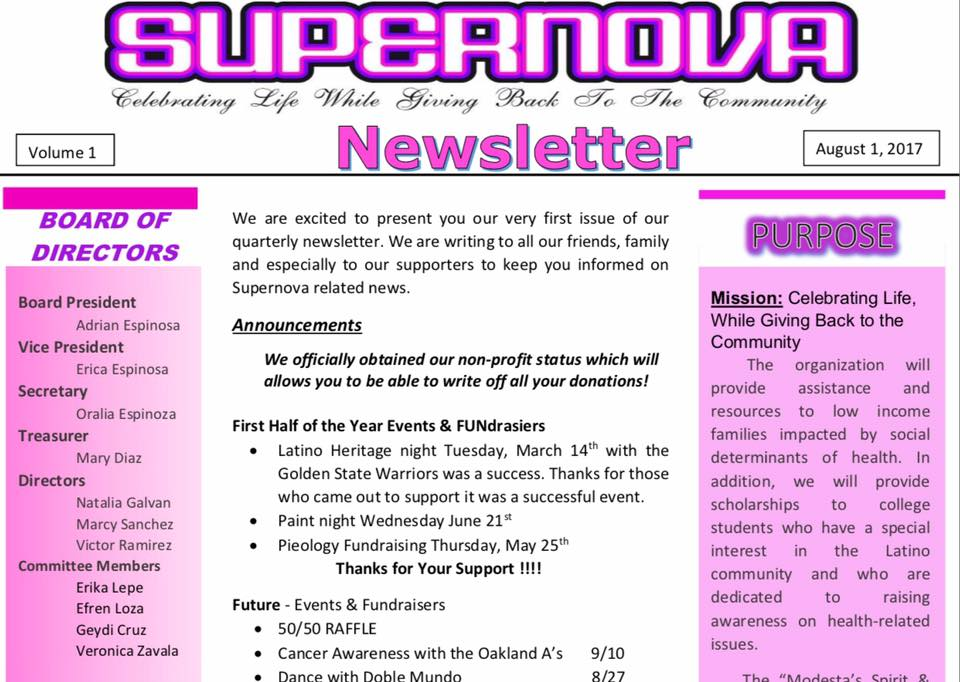 Supernova Newsletter – Volume 1